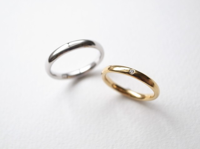 【pairing・刻印】K18YG Diamond・Pt900/oval ring