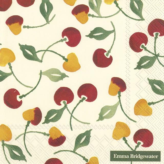 【Emma Bridgewater】バラ売り2枚 ランチサイズ ペーパーナプキン CHERRY オフホワイト