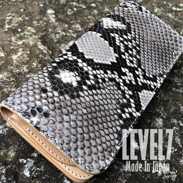LW001-DPYNA 長財布 ロングウォレット ダイヤモンドパイソン本革 手縫い 日本製 LEVEL7