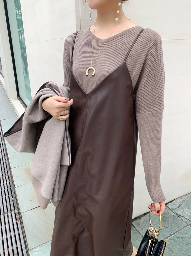 lether like cami onepiece / brown 10/29 21:00 ~ 再販 (即納)