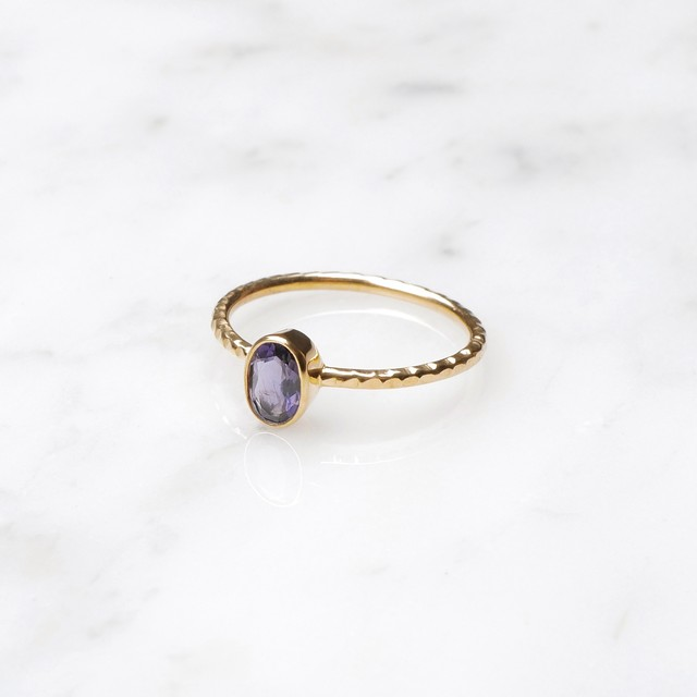 S925 SINGLE PETIT STONE RING TANZANITE