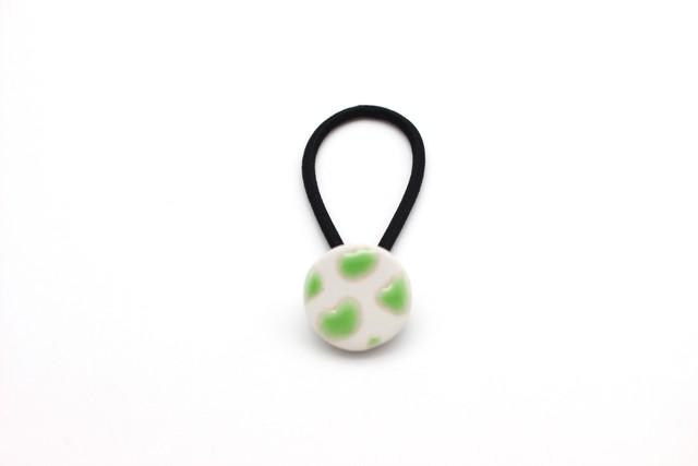 有田焼 ヘアゴム 牛柄×丸(黄緑)