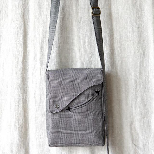cloth sack  ー grey × glencheck ー
