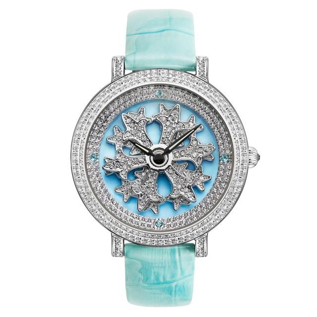 かわいい腕時計 ダヴェナ クロスB ファイン No.31513 ブルー/シルバー スワロフスキークリスタル使用