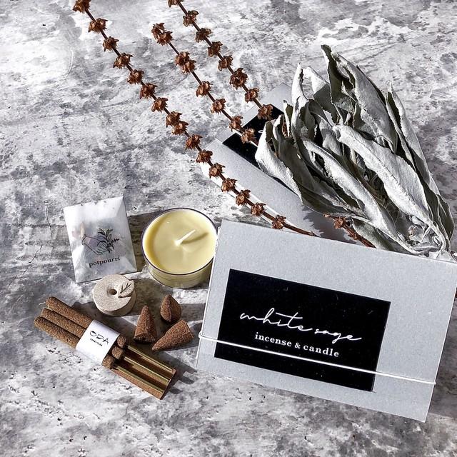 『 White Sage Incense & Candle BOX 』