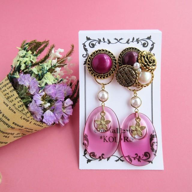 vintage button pierced earrings (p004)