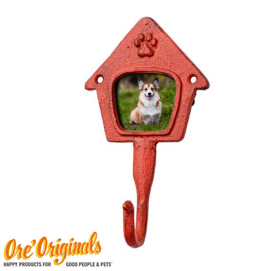 【ORE Originals】金属製の写真フレーム付リードフック(レッド)