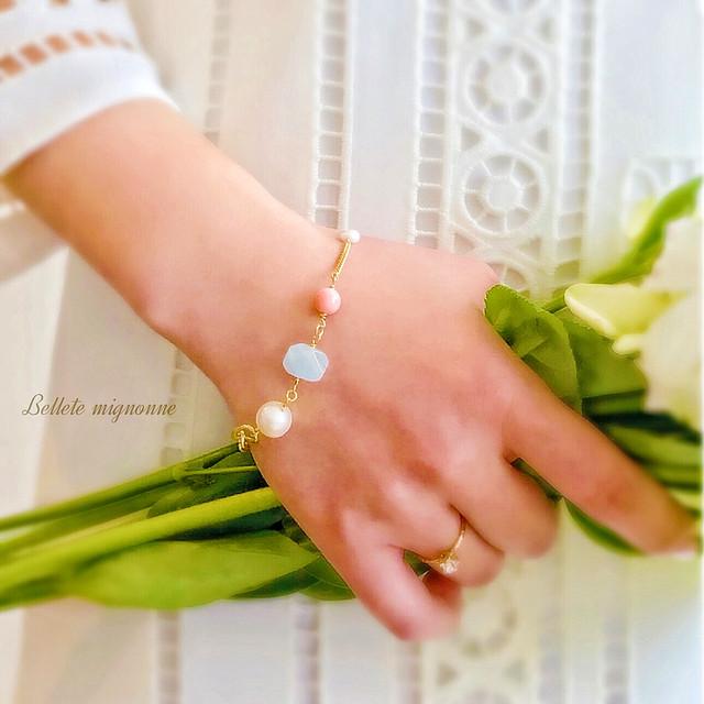 【再販】primavera(プリマヴェーラ) *  愛の御守り  大粒真珠・アクアマリン・ピンクコーラルのブレスレット