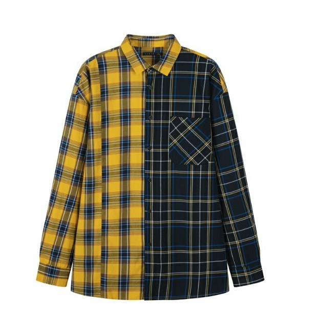送料無料メンズ/黄色/黒/2種アシンメトリーチェック/長袖シャツ