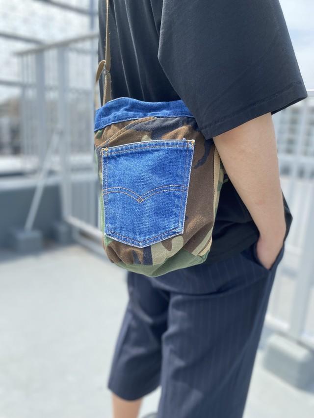 Type custom Bucket drawstring bag バケツバッグ バケツ巾着バッグ ミリタリーバッグ デニムリメイク リメイクバッグ パッチワーク