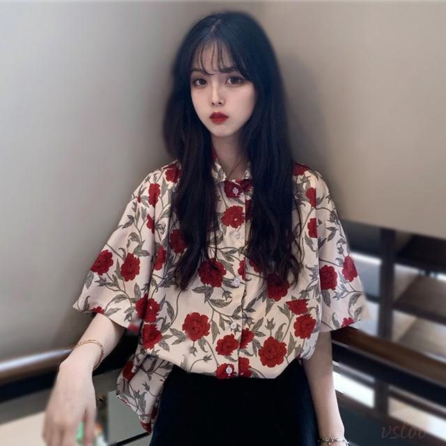 【トップス】レトロフラワーデザインーPOLOネック半袖シャツ