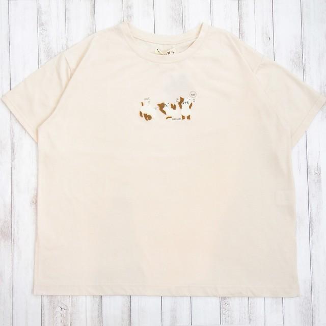 体操猫 さがら刺繍 Tee(ベージュ)#341890