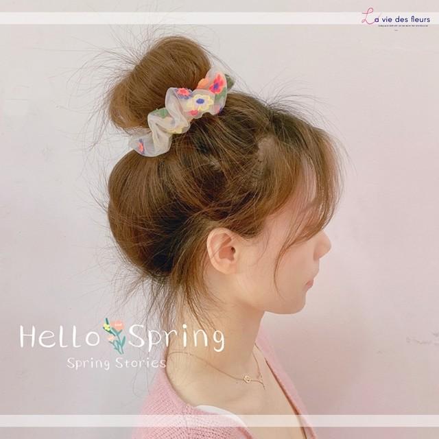 シュシュ 花 刺繍 シアー シースルー 可愛い ヘアアクセ 韓国 春 sns 人気 花柄 ヘアアレンジ バングル デート 髪留め