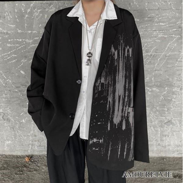 ジャケット アウター カジュアル アシンメトリー 黒 ブラック ストリート ピープス オルチャン 韓国ファッション 1707