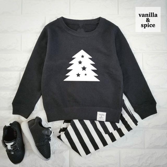 【X'mas限定デザイン】 キッズ 子供服 vanilla&spice  ツリー プリント 長袖 スウェット トレーナー ブラック クリスマス