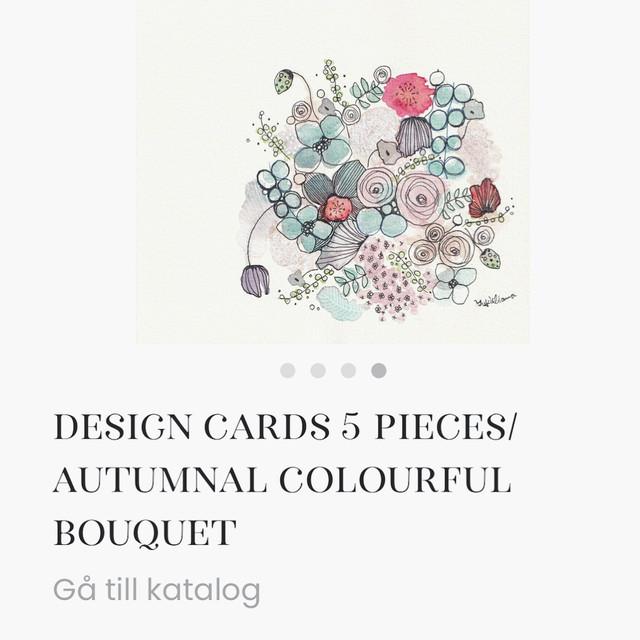 デザインカード/秋のカラフルブーケ 4枚セット