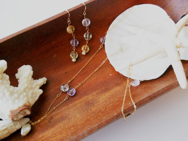 ◇multi stone◇ 14kgf 「fruits candy」ロングネックレス