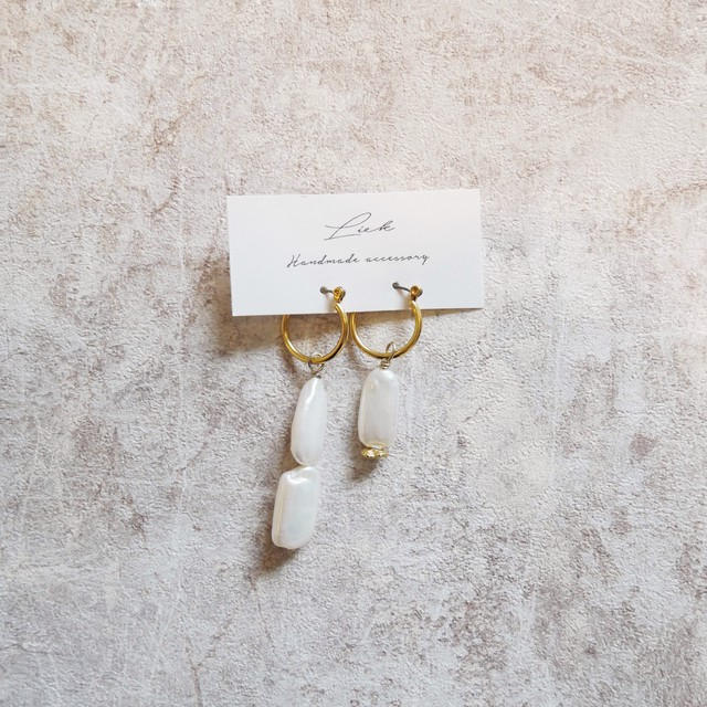 pearl asymmetry pierced earrings ✦ 淡水パール アシンメトリーピアス