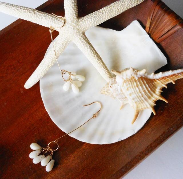 ◇white coral◇14kgf「plumeria」ロングピアス
