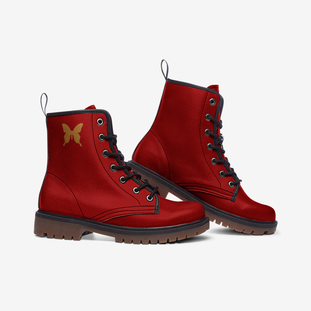 Baroque Japanesque RED Casual Faux Leather Lightweight Unisex boots