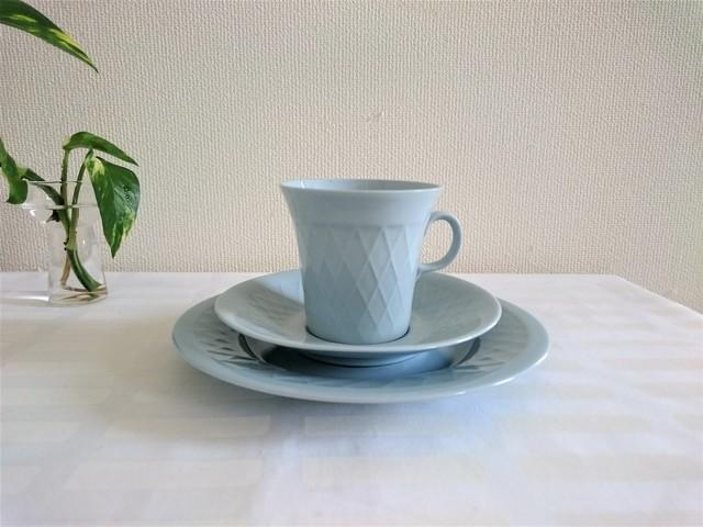 カップ・ソーサー・ケーキ皿セット  / アラビア ヴィンテージ / サヴィポスリッニ (BL)
