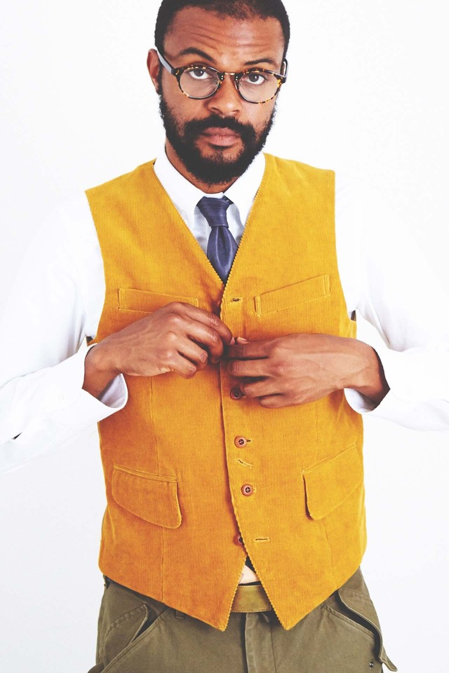 Vest,No collar,Men's,Single Blested,6Button(Cotton Corduroy)
