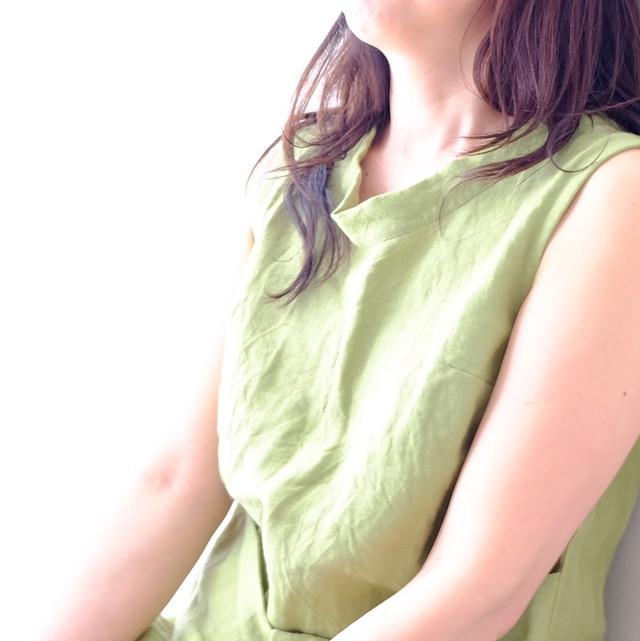 リネンワンピース・グリーン   ー lotus blanc ー
