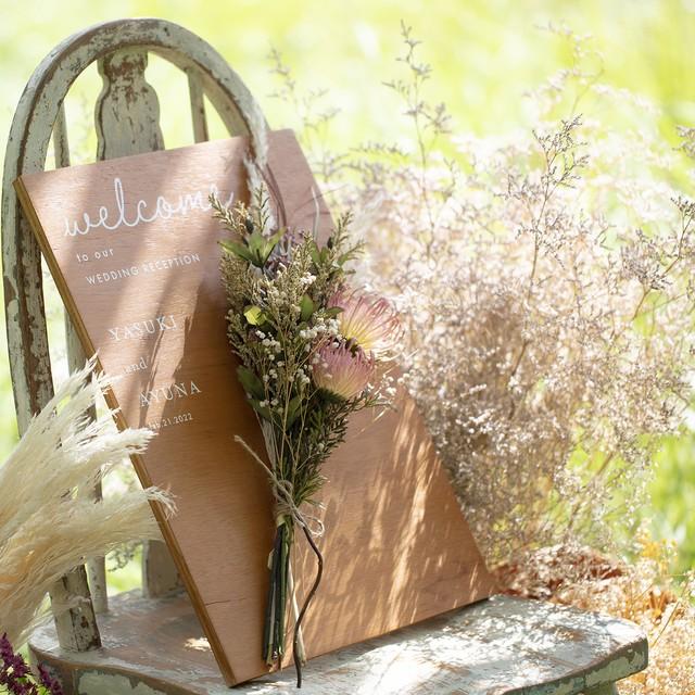 【lafeuille】コラボ お花をオーダーメイドできる木製ウェルカムボード
