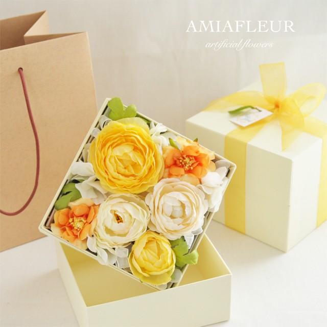 イエローが好きな友人へのプレゼントに♪ふんわりイエロー&オレンジのフラワーボックス