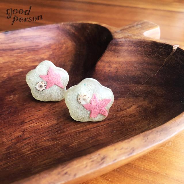 earrings / shell on the beach ー ヴィンテージアクセサリー イヤリング レジン 樹脂 シェル 海