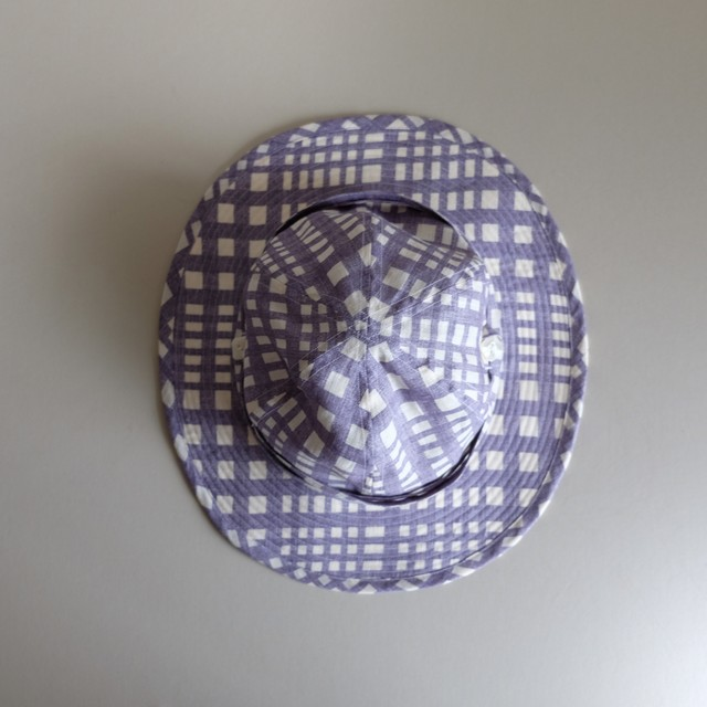 リボンと遊ぶ帽子 【linen hat】- Check of hydrangea blue -