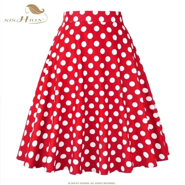 ドットスカート赤×白