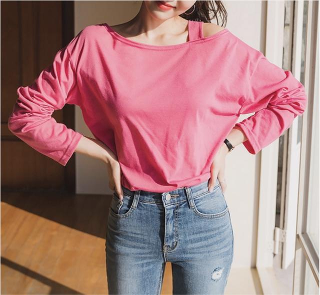 リラックス ルーズフィット ワン オフショルダー ロング カラーTシャツ 6色