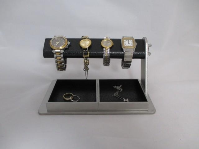 腕時計 飾る  蝶ナットでクリクリと回してだ円パイプの角度を変えることが出来る腕時計スタンド ダブルでかいトレイ付き ak-design N171202