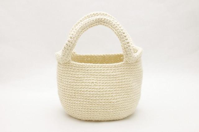 麻のまるバッグ/ホワイト