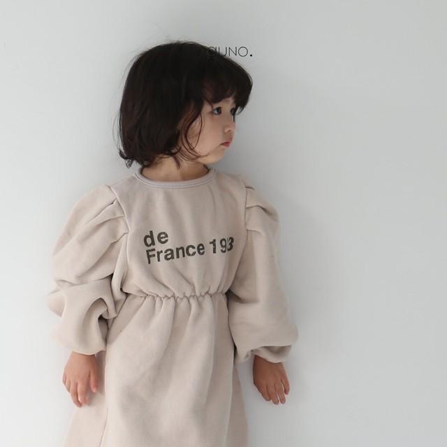 送料無料[SALE 10%OFF]【即納】 guno balloon sleeve onepiece / バルーン袖 ワンピース グノ 韓国子供服
