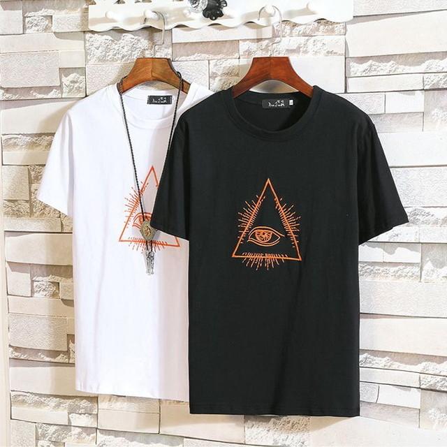 三角形ロゴ刺繍 メンズTシャツ / PURE COTTON T-SHIRT EMBROIDERED SHORT SLEEVES THIN CIRCULAR (WCN-1530287527)