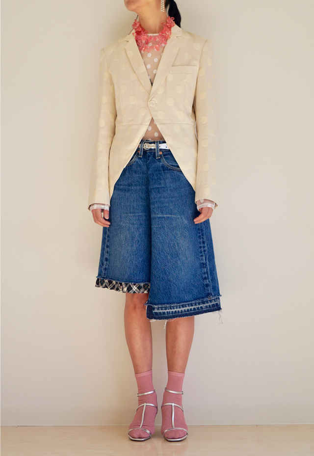 WRAPPING DENIM SKIRT SHORT RUFFLE [VTSK−18SS002]