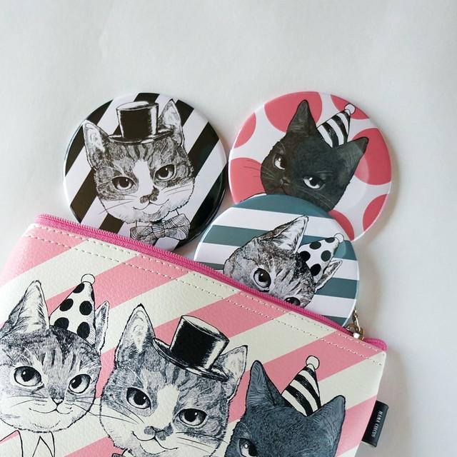 HANA circus original 缶ミラー ケース付き 猫 はちわれ きじとら 黒猫
