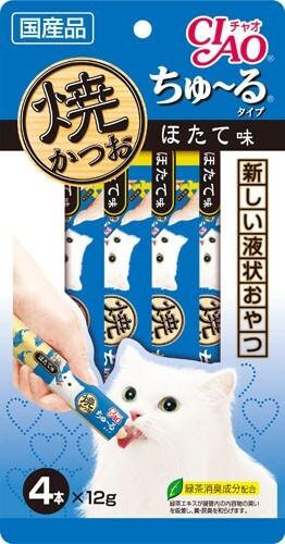 【愛猫用】【猫用おやつ】【チュール】焼かつお ほたて味 (14g4本)【キャットフード】