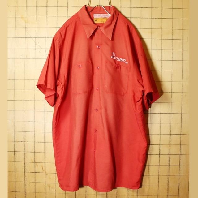 ビッグサイズ 70s 80s USA製 RED KAP レッドキャップ チェーンステッチ ワーク シャツ レッド 赤 メンズXL 半袖 アメリカ古着 062321ss100