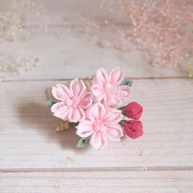 つまみ細工 ちりめん生地桜のコームS ■浴衣着物