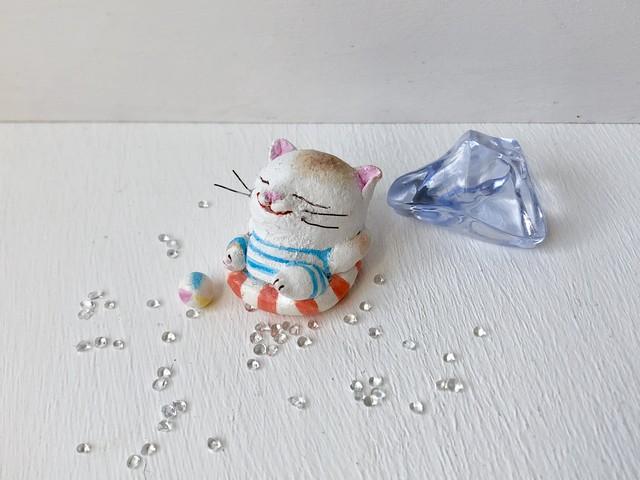 浮き輪で、まったり猫さん 白茶トラ