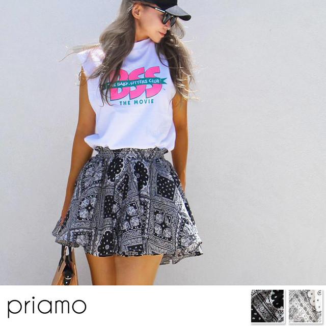 【即納】新作Bandana patternフレアミニスカート風キュロット ブラック ホワイト JOA-46
