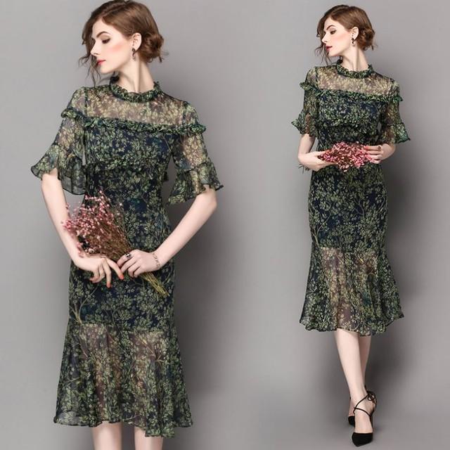 大人きれいで上品♡落ち着いた花柄デザインのシースルードレス