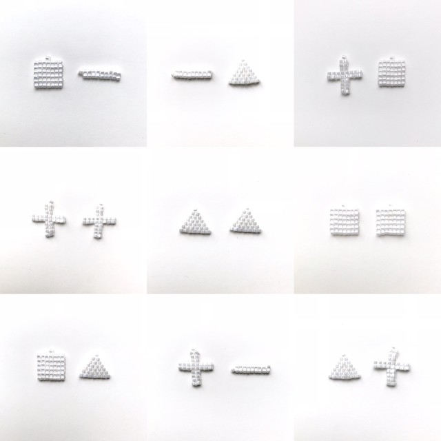 【four shapes:図形】#ガラスビーズで編み上げた煌めく白のピアス&イヤリング