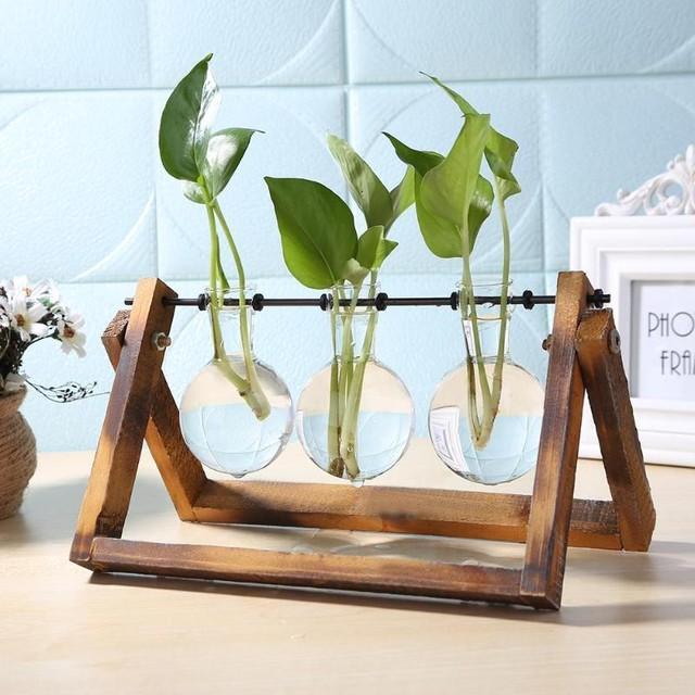 ガラス瓶3連一輪挿し 花瓶 花器 テラリウム ガラス瓶 木製スタンド  組立式
