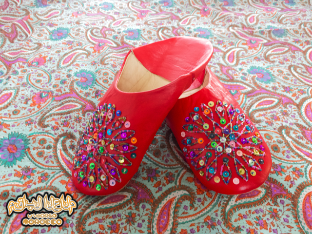 Moroccan Babouche Slippers (Red)