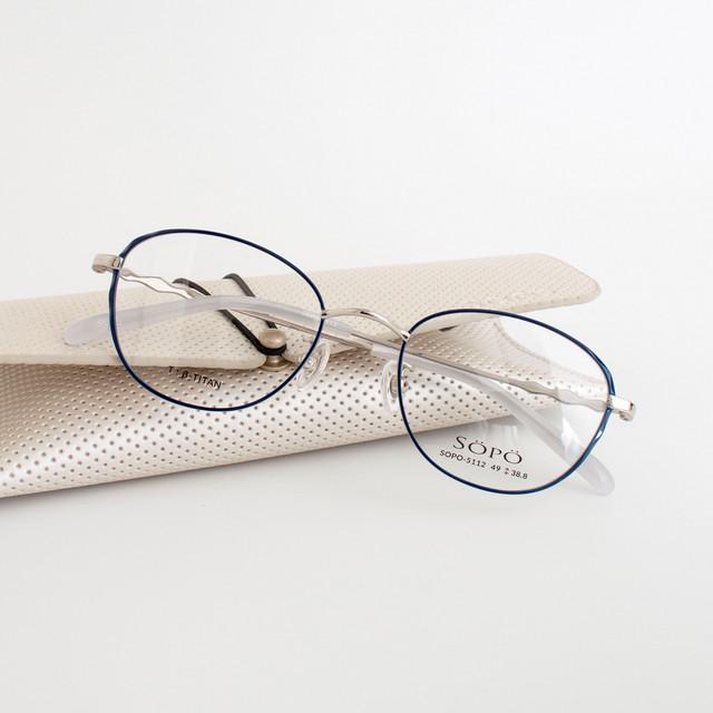 メガネ 度付きメガネ 度なしメガネ ブランド:SOPO - ソポ -  品番:SOPO-5112-3 カラー:シルバー / ダークネイビー