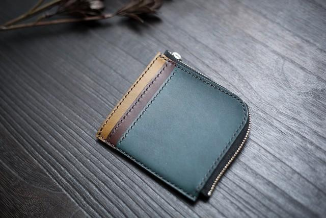 L字ファスナー財布(3色ストライプ|グリーンブルー×チョコ×オリーブ)